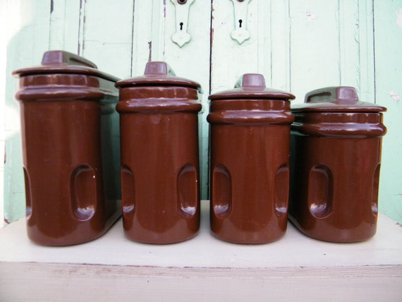 kitchen canisters vintage chocolate brown ceramic vintage canister set plastic brown lid tan typographic