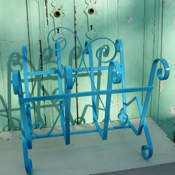 Magazine Rack Vintage Metal Upcycled in Turquoise High Gloss