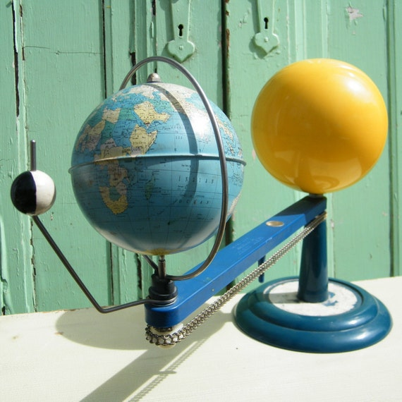 Globe Vintage School Planetarium Sun Earth and Moon