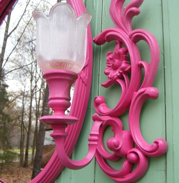 Wall Mirror and Sconce Set Vintage Syroco