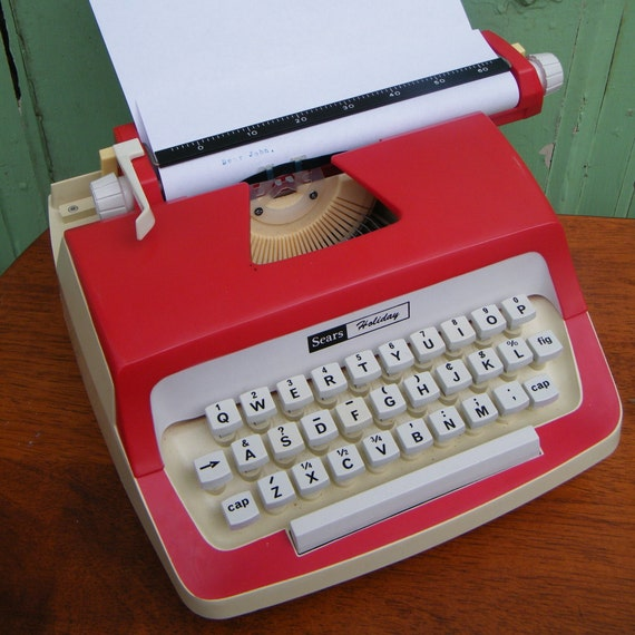 Vintage  Typewriter Red and White Sears Holiday with Original Case