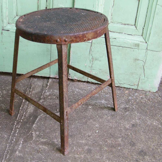Vintage Industrial Stool All Metal Great Patina