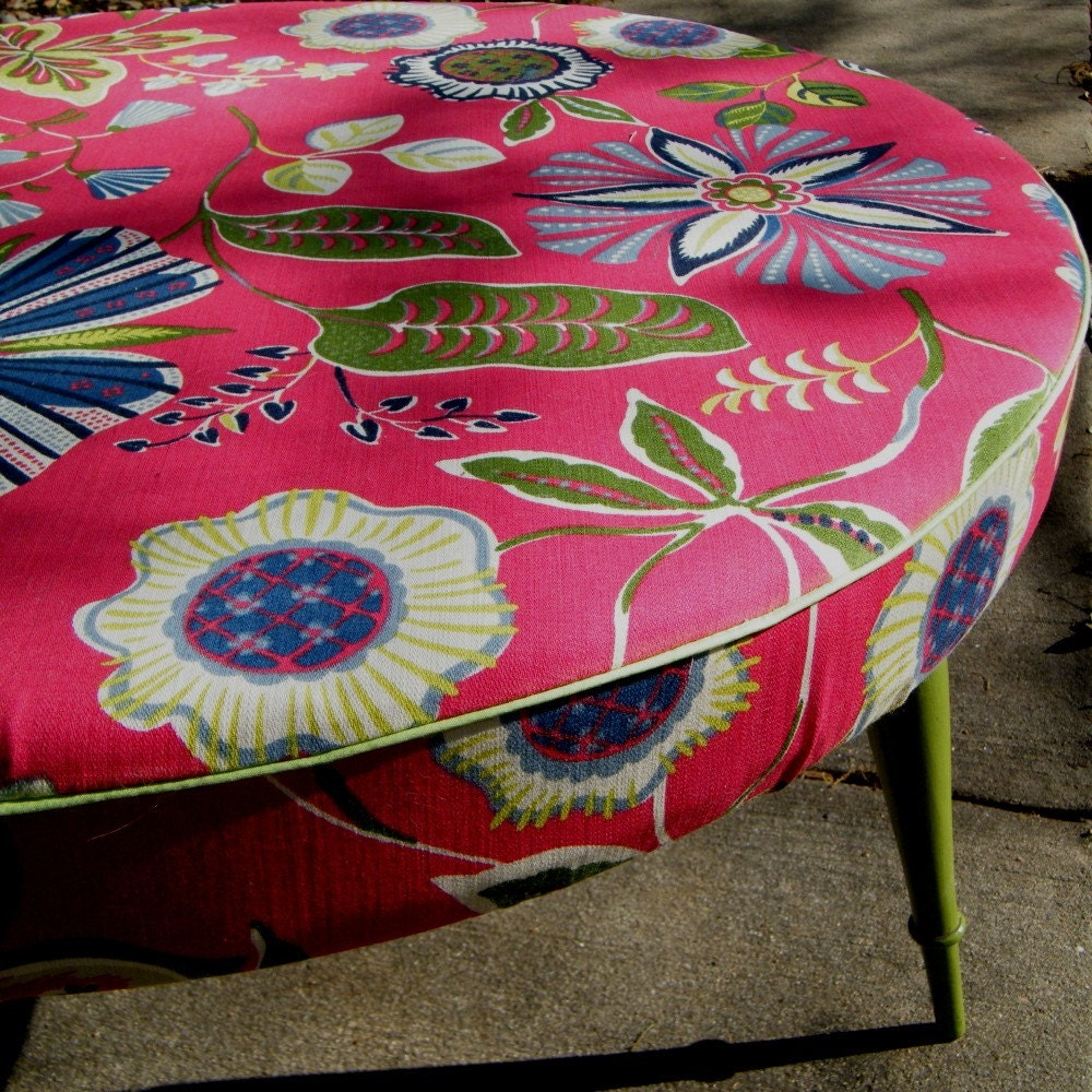 Ottoman Coffee Table Round Upcycled In Designer By