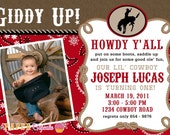Printable Photocard Invitation Design - Giddy Up Lil' Cowboy Collection - DIY Printables by The Paper Cupcake
