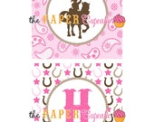 Printable Happy Birthday Banner - Giddy Up Lil Cowgirl Theme - (INSTANT DOWNLOAD) by The Paper Cupcake