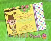 Printable Invitation Design - Monkey See Monkey Do - Girly Monkey Themed Collection - DIY Printables by The Paper Cupcake