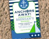 Printable Invitation Design - ANCHORS AWAY Nautical Themed Collection - DIY Printables by The Paper Cupcake