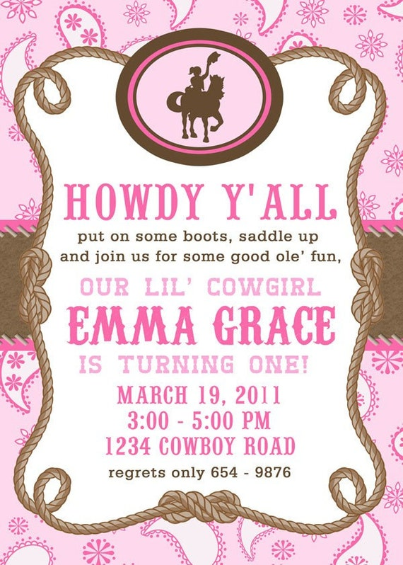 Printable Invitation Design - Giddy Up Lil' Cowgirl Collection - DIY Printables by The Paper Cupcake