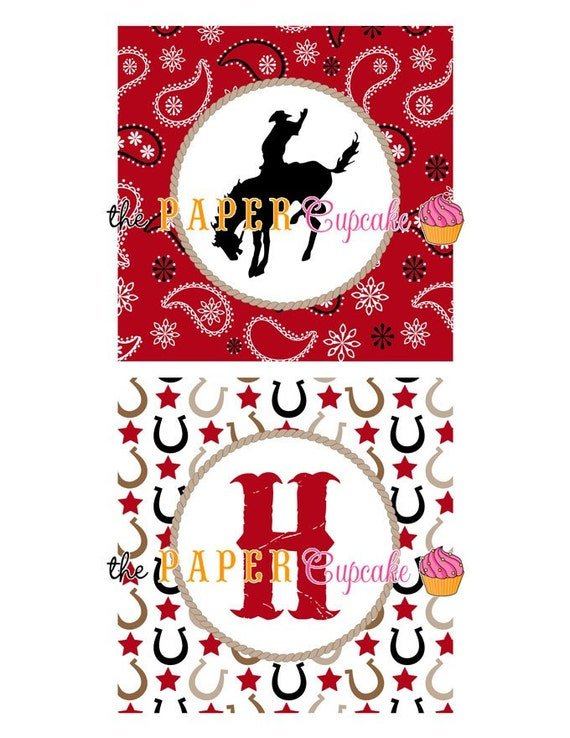 Red Bandana Printable Happy Birthday Banner - Giddy Up Lil Cowboy Collection - (INSTANT DOWNLOAD) DIY Cowboy Printable by The Paper Cupcake