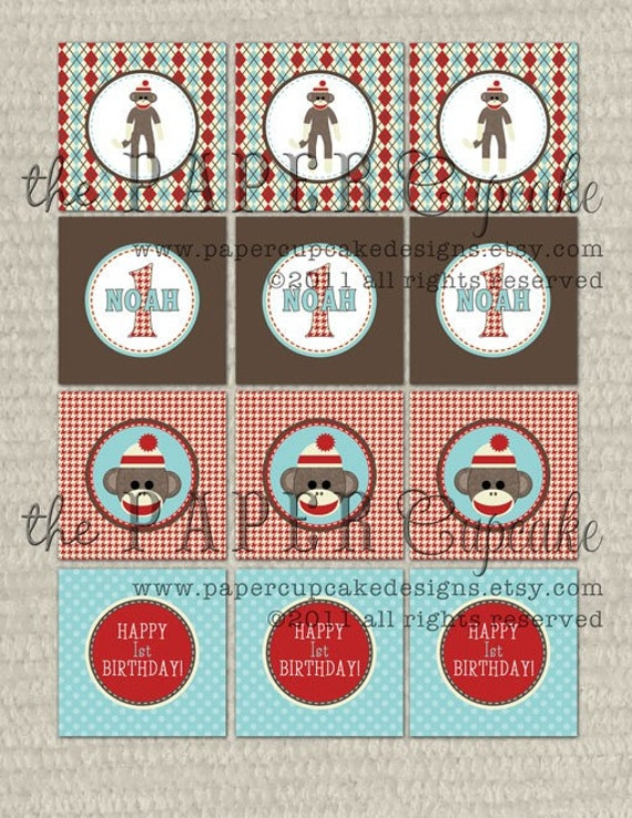Printable Party Toppers - Classic Sock Monkey Collection - DIY Printables from The Paper Cupcake