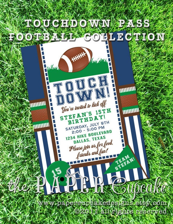 Printable Invitation Design - Touchdown Pass Football Themed Collection - DIY Printables by The Paper Cupcake