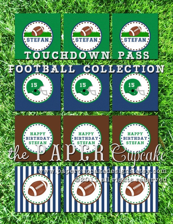 Printable Party Toppers - Touchdown Pass Football Theme - DIY Printables from The Paper Cupcake