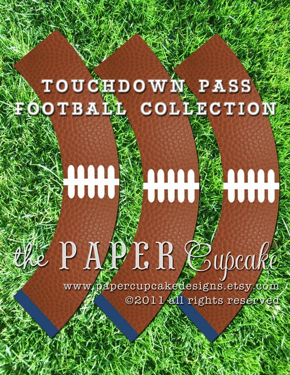 Printable Cupcake Wrappers - Touchdown Pass Football Collection - (INSTANT DOWNLOAD) by The Paper Cupcake
