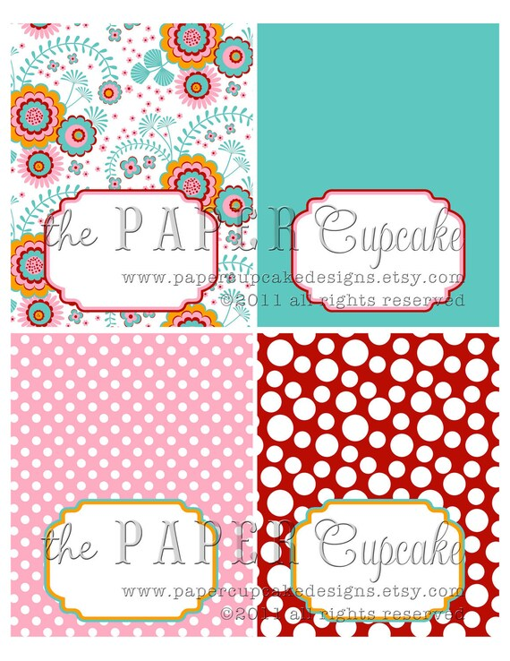 Printable Tented Place Cards - Posy Dot Flirty Floral & Polka Dot Design Inspired by Lizzie Cotton Tale Bedding
