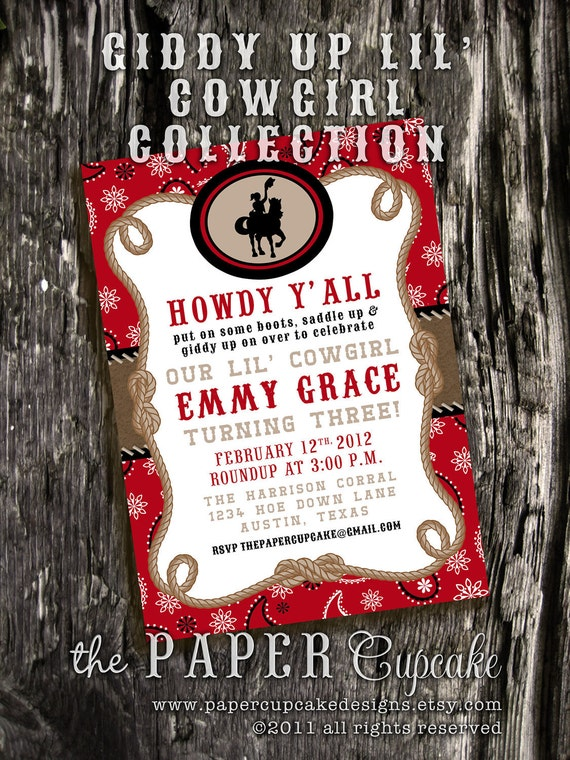 Printable Invitation Design - Giddy Up Lil' Cowgirl Collection - RED version - DIY Printables by The Paper Cupcake