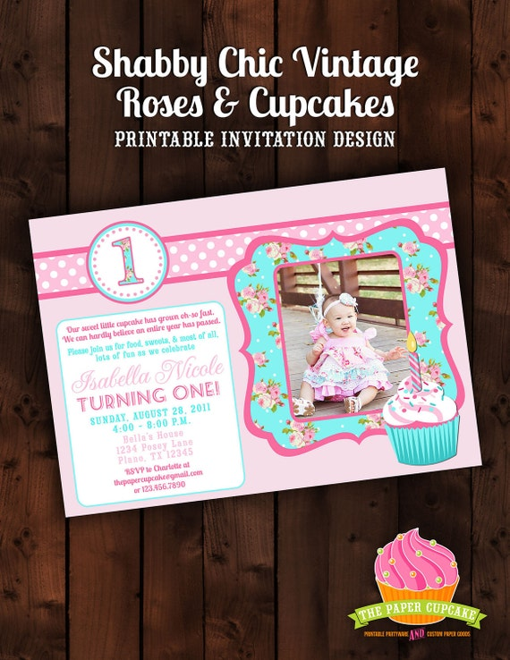 Printable Photocard Invitation Design - Shabby Chic Vintage Rose & Cupcake Collection - DIY Printables by The Paper Cupcake