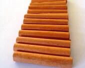 1 Dozen Orange Paper Tube Beads