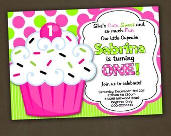 Cupcake Birthday Invitation, Girl