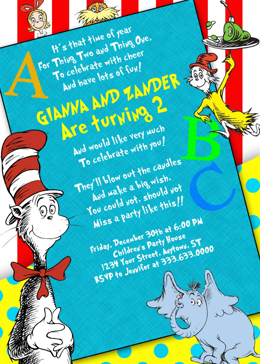 Dr Seuss Personalized Birthday Invitations U By
