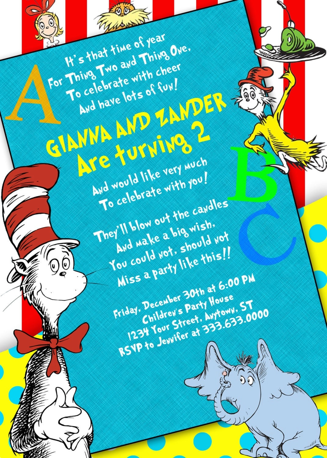 Dr Seuss Baby Shower Invites with perfect invitations sample