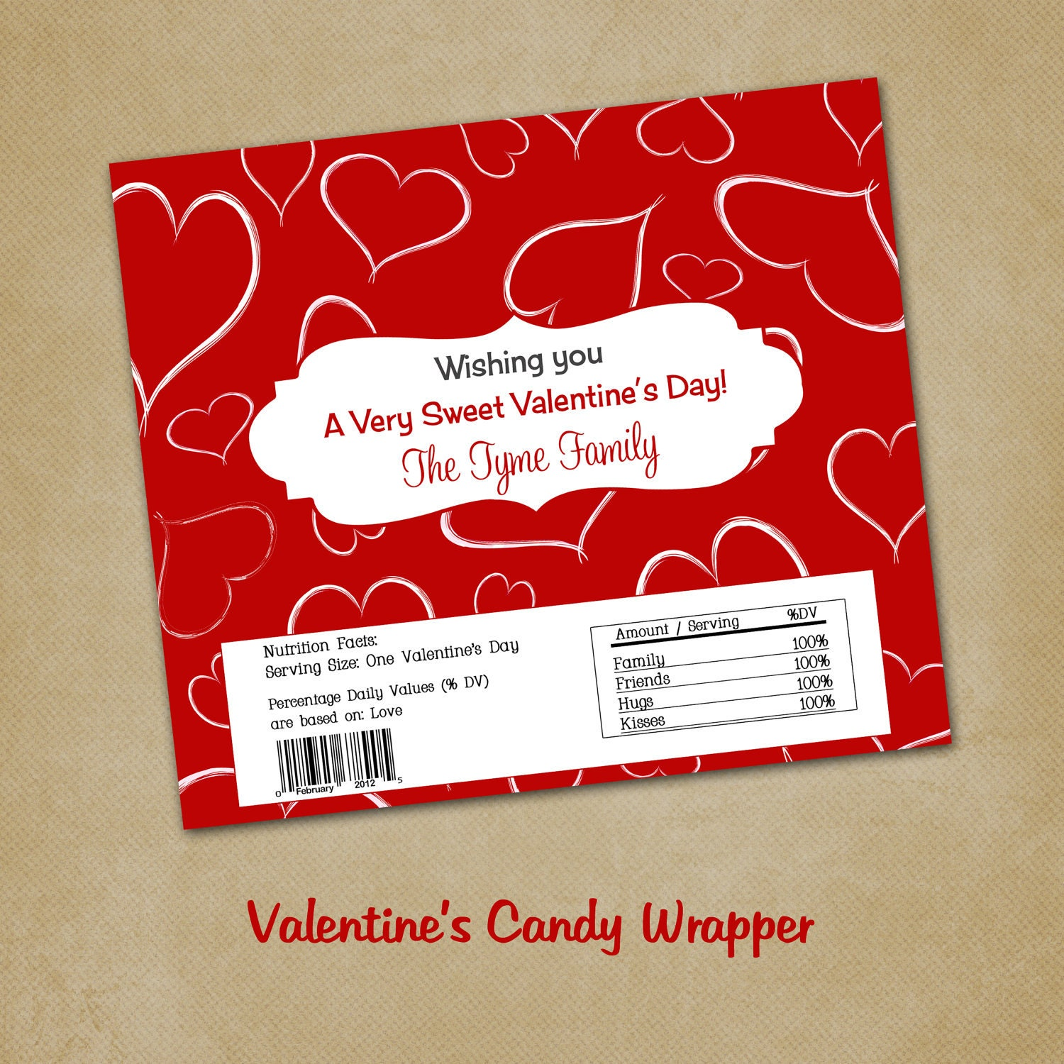 Free template for valentines candy bar wrapper just b cause for Valentine candy bar wrapper templates