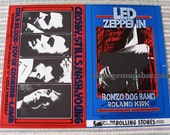 Led Zeppelin Original L Fillmore Winterland san Francisco CSNY Double BG 199 / 200 Mailer Card 1969