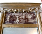 ANTIQUE Mirror Ancient Roman Theme with Pillars and Ornate Gold Rome Greece