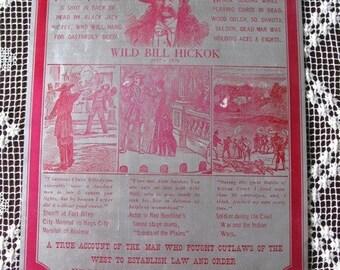 VINTAGE PRINTING PLATE OLD WEST WILD BILL HICKOK SHOT DEAD
