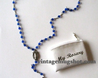 """Old Vintage Blue Glass Bead  Rosary Crucifix with Orig Case 20 1/2"""""""