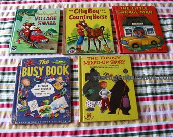 1950s 1st ED. Books Lot of 5 Wonder Tip Top Treasure Trucks Garage Horse etc