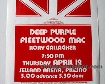 Deep Purple Fleetwood Mac Rory Gallegher Concert Handbill Fresno