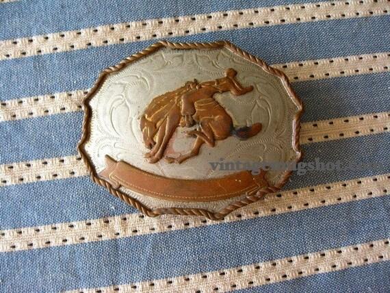 Cowboy Vintage Belt Buckle German Silver Rodeo