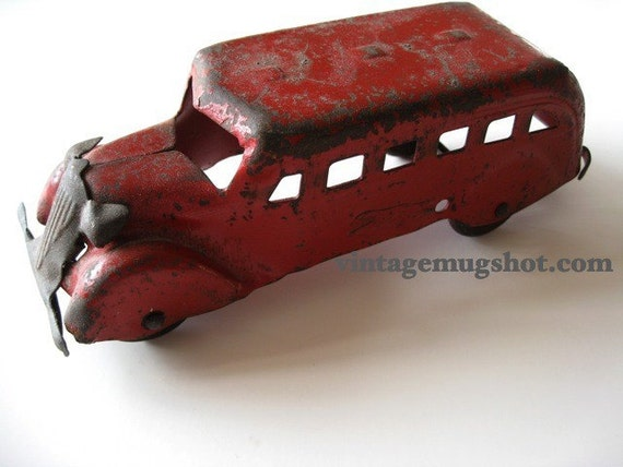 Reserved for Sheri Vintage 30's Pressed Steel Greyhound Bus six inches All Orig.