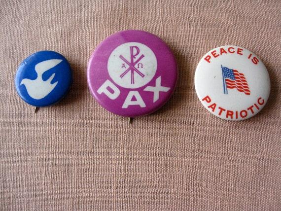 3 Sixties Peace pinback Buttons original counterculture Anti Vietnam War Movement Dove