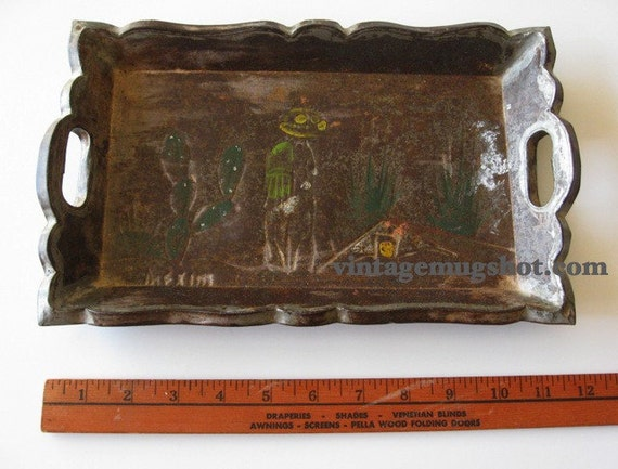 """Old Mexican Metal and Wooden Tray 11 3/4"""" x 7 1/4"""" Mexico"""