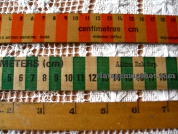 3 Vintage Old Classroom School Rulers Metric and Standard