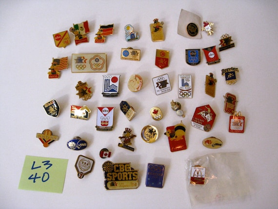 Vintage OLYMPIC PINS mostly 1984 Trade or Retail sale LOT of 40 Promo Sponsors L3