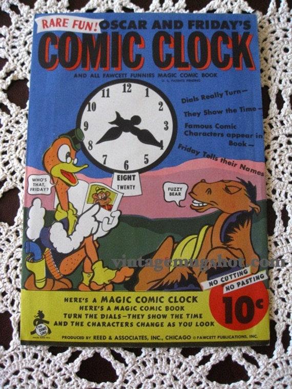 Circa 1945 COMIC CLOCK  Mint Toy Paper Fawcett Funnies Magic Comic Book Oscar and Friday
