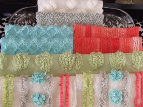 BoHeMiAn Set   ViNtAGe ChENiLLe BedSpREaD FaBRiC 6 iNcH SqUaRES