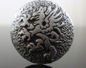 GRYPHON pewter button - Antiqued Silver or Gold