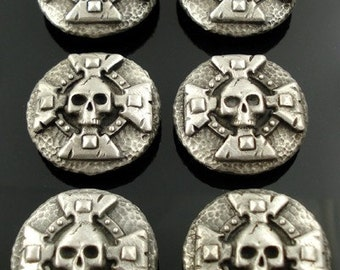 SKULL AND CROSS pewter buttons - lot of 6 - Antiqued Silver or gold