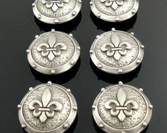 FLEUR DE LYS pewter buttons - lot of 6 - Antiqued Silver or Gold