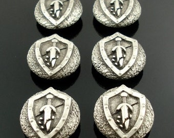 HERALDIC SWORD and SHIELD pewter buttons - lot of 6 - Antiqued Silver or Gold