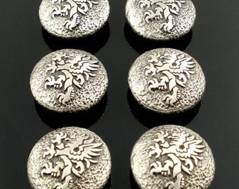 GRYPHON pewter buttons - lot of 6 - Antiqued Silver or Gold