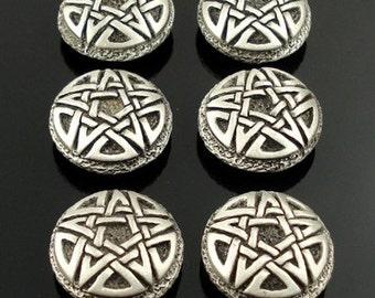 CELTIC PENTAGRAM pewter buttons - lot of 6 - Antiqued Silver or Gold