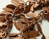 Antiqued Copper Plated Leaf Chain 6 inches