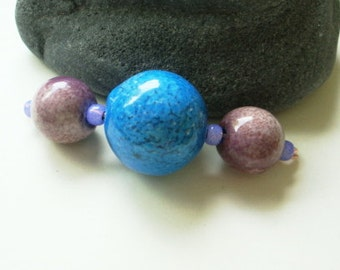 Enameled Beads Set in Aqua Blue and Orchid