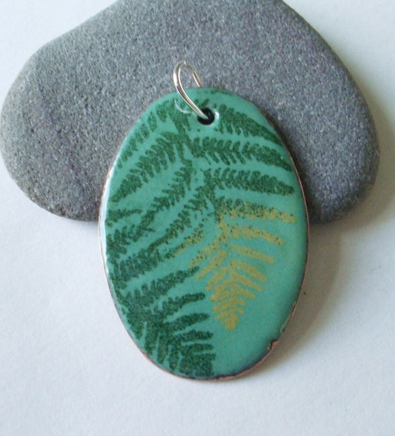 Green Ferns Enameled Pendant