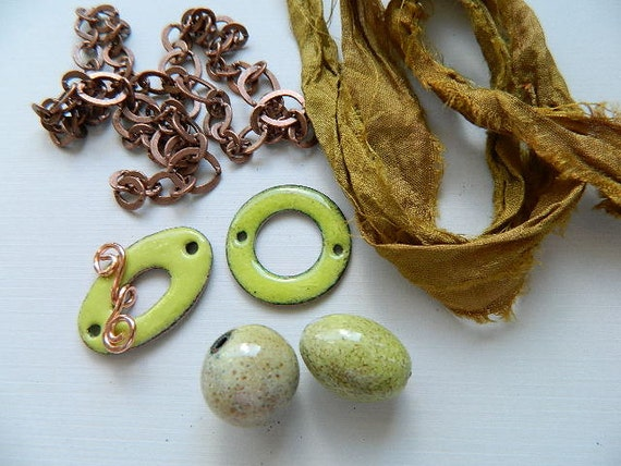 Jewelry Kit with Lime Green Enameled Beads, Toggle Clasp, Connector, Copper Chain, and Olive Sari Silk