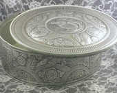 Vintage Sewing Tin Ornate Bird Design